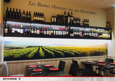 Vinilo decorativo e iluminación led vinoteca